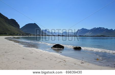 Beach on Lofoten islands in Norway at day