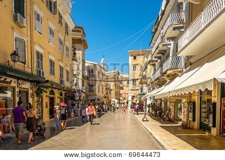 In The Street Of Old City Corfu