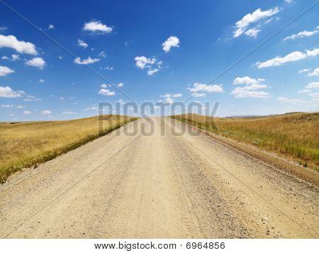 Landelijke vuil weg door grasland