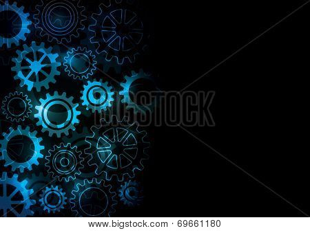 An abstract design with glowing cogs and gears on a dark background poster