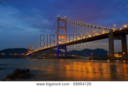 night view of the bridge Tsing Ma in Hong Kong