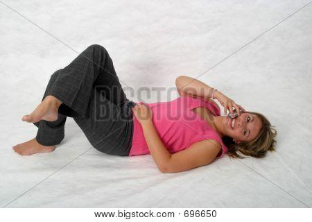 Teen On Phone On Floor