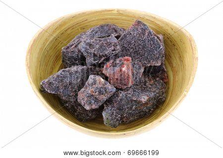 A bowl of rock salt - Black Indian Salt crystals (Himalayan Pink Salt)