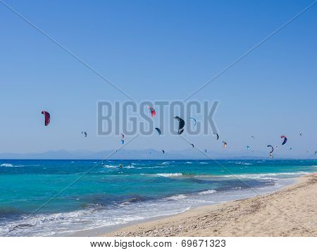 Kite surfing at Agios Ioannis beach on the Ionian island of Lefkas Greece
