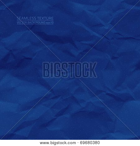 Realistic vector seamless creased dark blue old paper texture poster