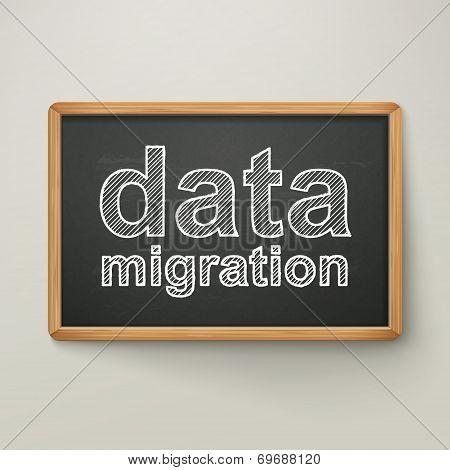 Data Migration On Blackboard In Wooden Frame