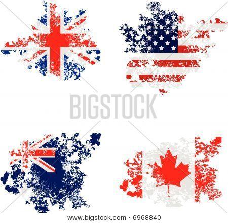 Grunge Uk, Usa, Australia And Canada Flags
