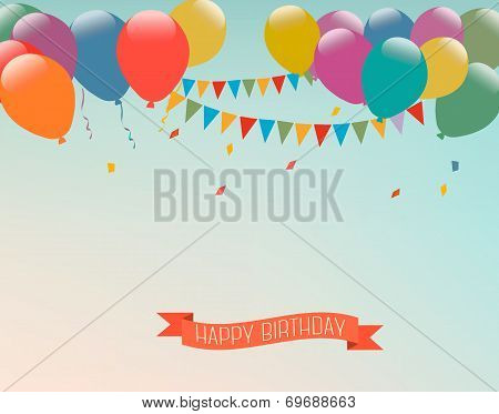 Retro Holiday Background With Colorful Balloons And A Happy Birthday Ribbon. Vector.
