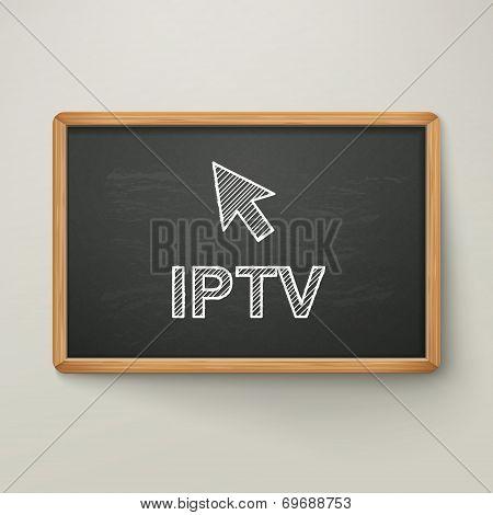 Internet Protocol Television On Blackboard In Wooden Frame