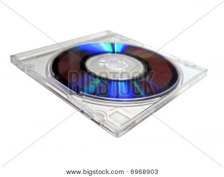 Single Cd Plastic Box With Digital Compact Disk Isolated On White