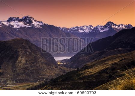 Queenstown at sunset, South Island, New Zealand