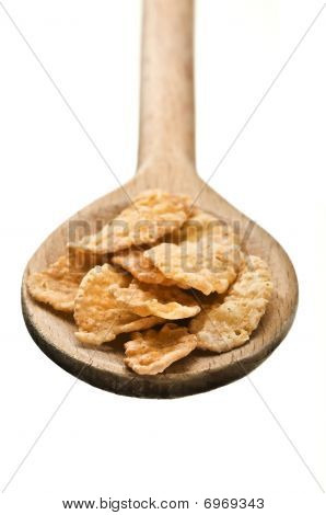 Wooden Spoon With Corn Flakes