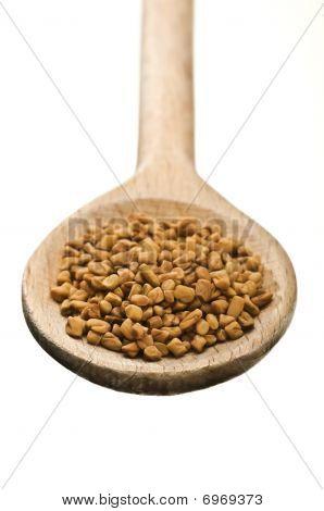 Wooden Spoon With Fenugreek Seeds