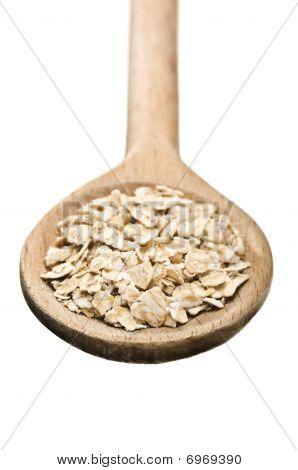 Wooden Spoon With Porridge Oats