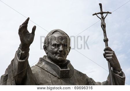 Statue of pope John Paul II in Nitra Slovak republic central Europe. poster