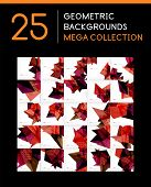 Mega collection of geometric shape abstract backgrounds - 25 layout templates poster