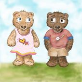Colorful, youthful, fun... hand illustrated teddy bears on a beautiful day outside.  poster