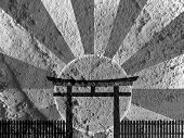 Japan Gate on Cement wall texture background design poster