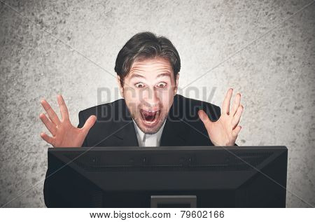 Busines Man Screaming At The Computer, Emotion, Expression