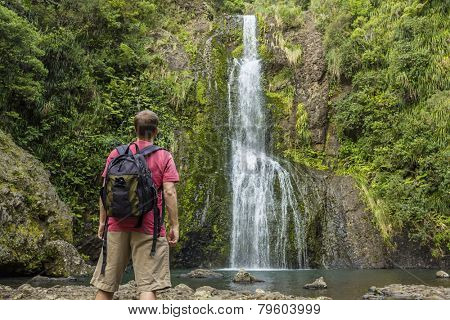 Man looking at scenic waterfall in New Zealand