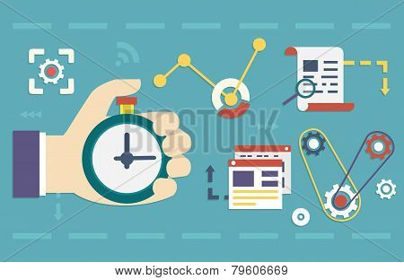 Vector Flat Concept Of Process Social Media Business And Marketing. Startup, Business Planning And R