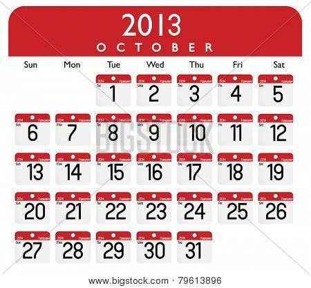 October 2013 Calendar Vector