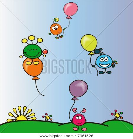 Funny cranks flying at the varicolored  balloons. poster