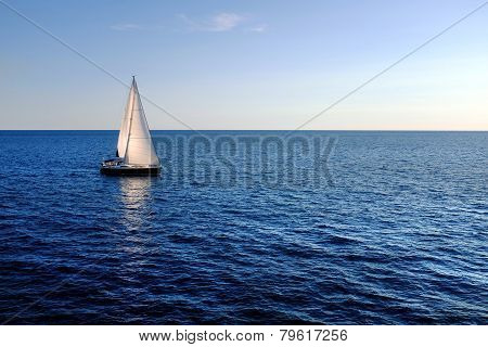 Sail Boat On Open Sea.