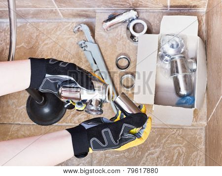 Plumber Replaces Chrome Plated Trap Of Sink