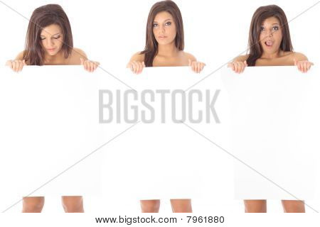 Three Women Blank Sign