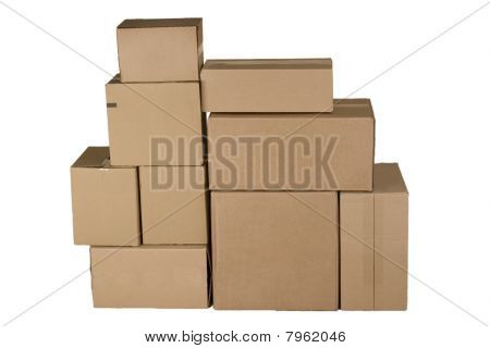 Different Cardboard Boxes Arranged In Stack
