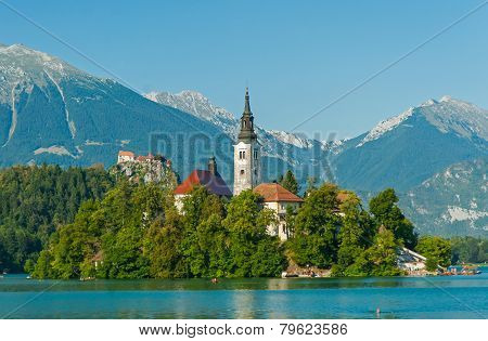 Lake Bled with church and Bled castle, Slovenia