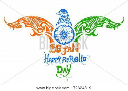 vector illustration of tricolor bird for Indian Republic Day poster