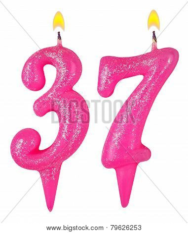 Birthday candles number thirty seven isolated on white poster