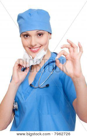 Successful Nurse Showing Ok Sign
