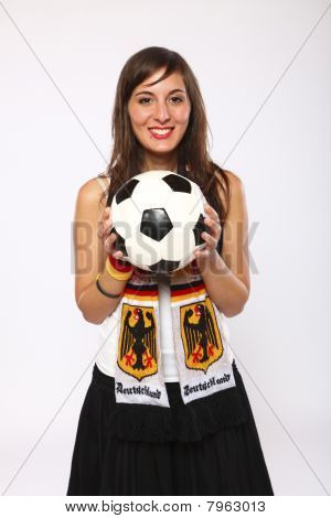 Soccer Fan Girl Holding The Ball