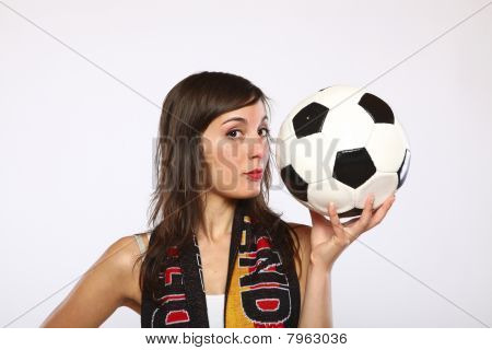 Girl Posing With The Ball In Her Hand