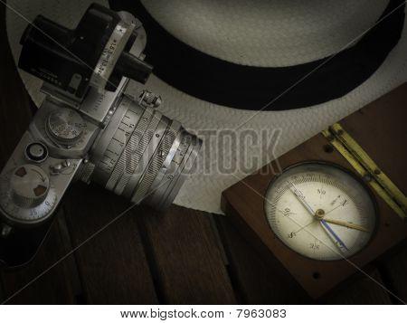 panama hat and travel equipments