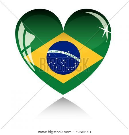 Vector heart with Brazil flag texture isolated on a white.
