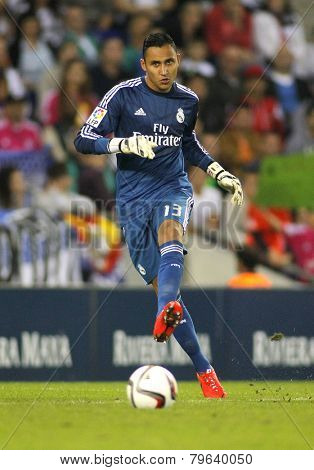BARCELONA - MAY,11: Keylor Navas of Real Madrid during the Spanish Kings Cup match against UE Cornella at the Estadi Cornella on October 29, 2014 in Barcelona, Spain