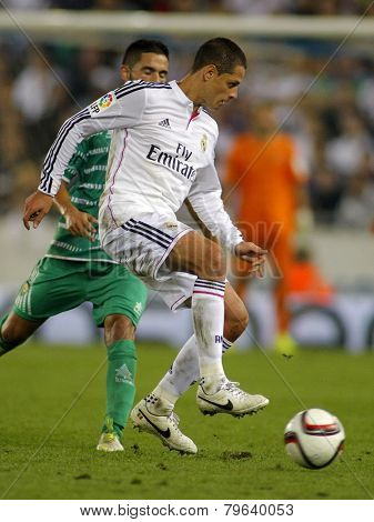 BARCELONA - MAY,11: Javier Chicharito Hernandez of Real Madrid during the Spanish Kings Cup match against UE Cornella at the Estadi Cornella on October 29, 2014 in Barcelona, Spain