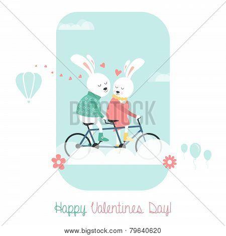 Bunnies on bicycle