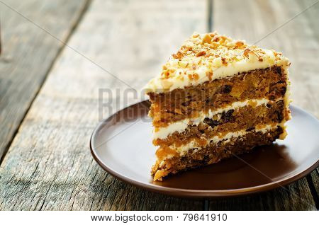 Carrot Cake With Walnuts, Prunes And Dried Apricots