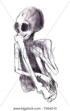 Esqueleto agachado - esqueleto humano