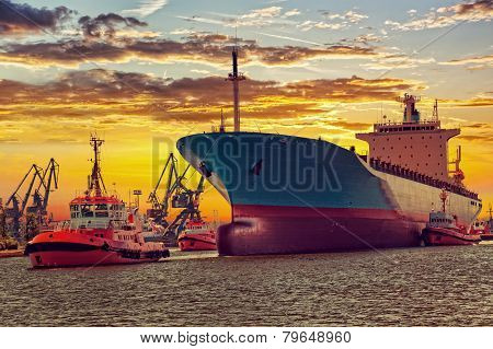 Ship With Tugs