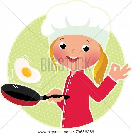 Chef Flipping An Fried Eggs Or A Omelette