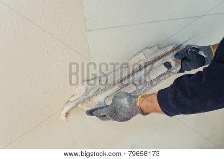 Gypsum Puttying Manually.