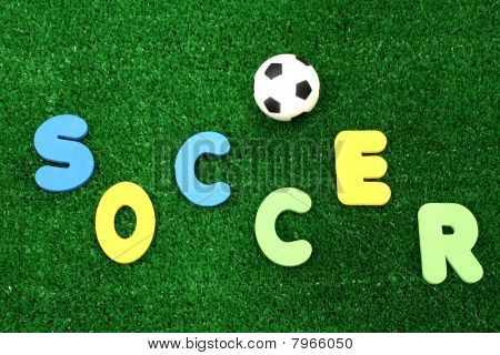 Soccer ball on artificial turf - word plastic colours poster