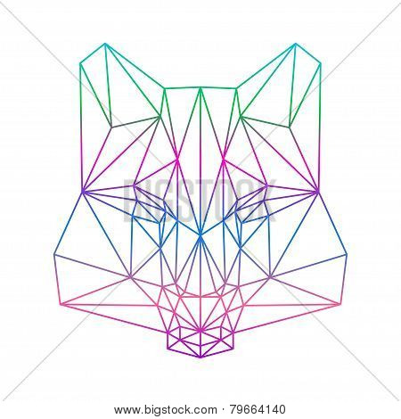 Polygonal Abstract Wolf Silhouette Drawn In One Continuous Line Isolated On A White Background