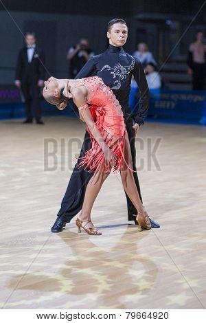 Belarussian dance couple of Kolesnev Sergey and Buldyk Arina performs Adult Latin-American program